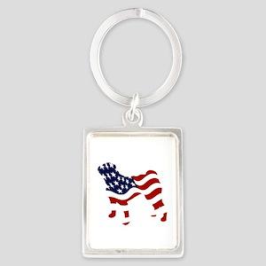 Patriotic Pug - Portrait Keychain