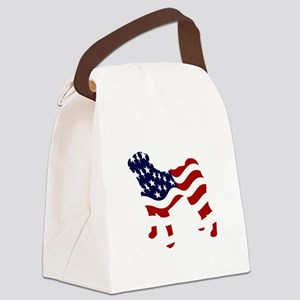 Patriotic Pug - Canvas Lunch Bag