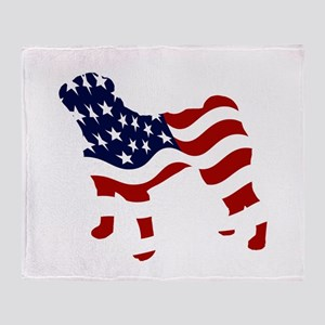 Patriotic Pug - Throw Blanket