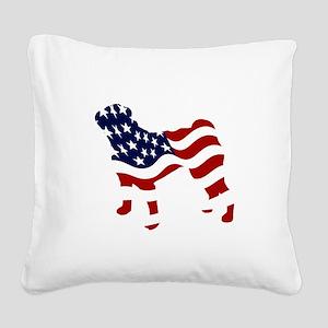 Patriotic Pug - Square Canvas Pillow
