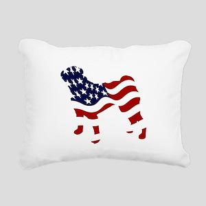 Patriotic Pug - Rectangular Canvas Pillow