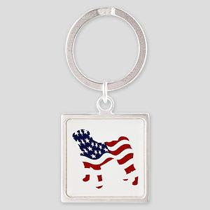 Patriotic Pug - Square Keychain