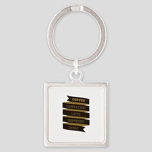 Coffee Saying Square Keychain