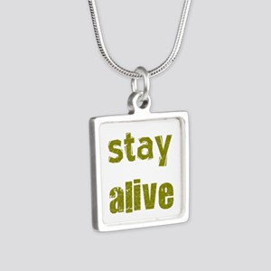 Stay Alive Silver Square Necklace