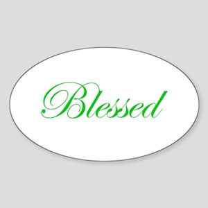 Green Blessed Oval Sticker