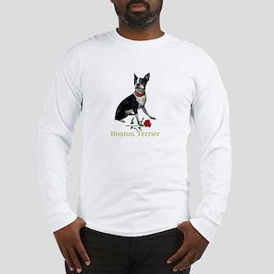 Boston Terrier Valentine Rose Long Sleeve T-Shirt