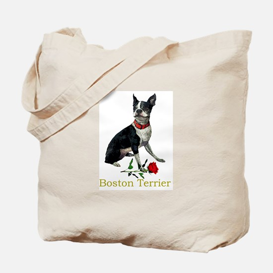Boston Terrier Valentine Rose Tote Bag