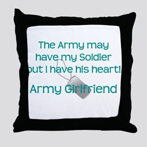 Army Girlfriend Heart Throw Pillow