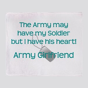 Army Girlfriend Heart Throw Blanket