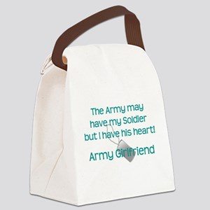 Army Girlfriend Heart Canvas Lunch Bag