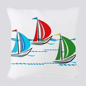 Three Yachts Racing Woven Throw Pillow