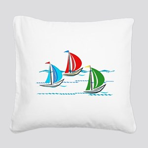 Three Yachts Racing Square Canvas Pillow
