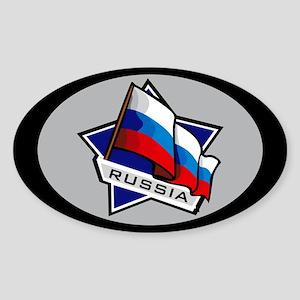 """Russia Star Flag"" Oval Sticker"