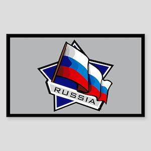 """Russia Star Flag"" Rectangle Sticker"