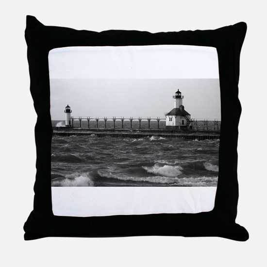 lighthouse b/w Throw Pillow