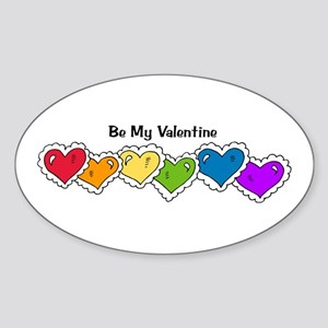 Be My Valentine (Rainbow Hear Oval Sticker