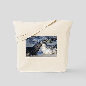 Kissing Harbor Seals Tote Bag