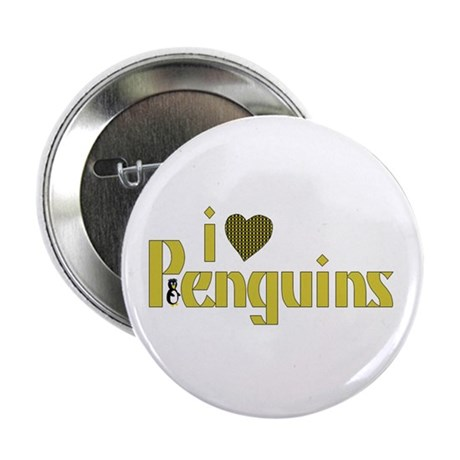 I Love Penguins Button