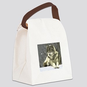 Gray Wolf Canvas Lunch Bag