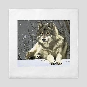 Gray Wolf Queen Duvet