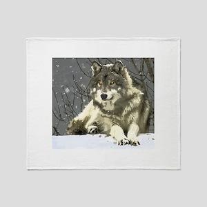 Gray Wolf Throw Blanket