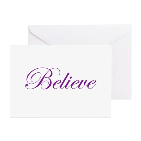 Purple Believe Greeting Cards (Pk of 10)