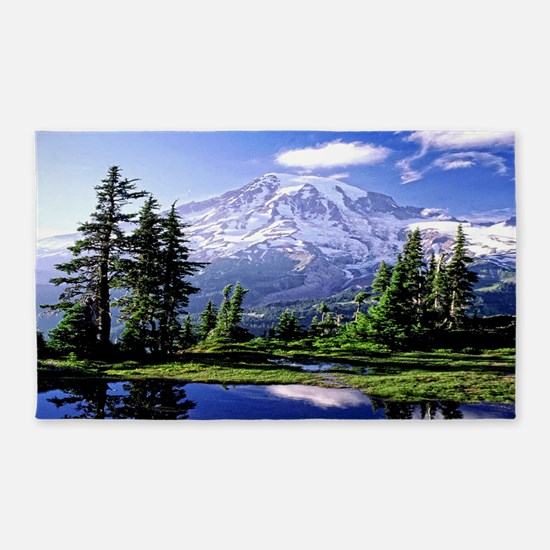 Mt Raineer National Park Area Rug