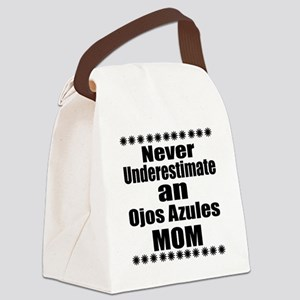 Never Underestimate ojos azules C Canvas Lunch Bag