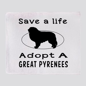 Adopt A Great Pyrenees Dog Throw Blanket