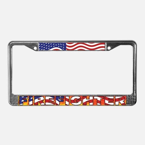 Patriotic Firefighter License Plate Frame