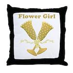 Golden Flower Girl Throw Pillow