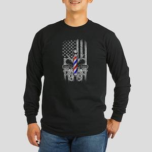 Barber American Flag Long Sleeve T-Shirt