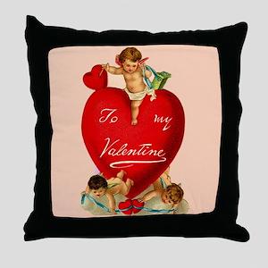 Victorian Valentine Heart Throw Pillow
