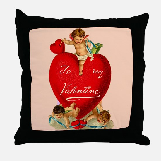 Victorian Valentine Heart Throw Pillow