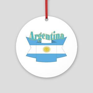 Ribbon Argentina flag Ornament (Round)