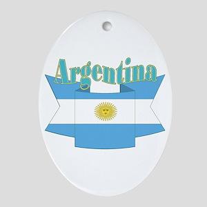 Ribbon Argentina flag Ornament (Oval)
