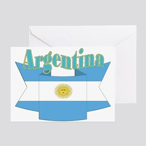 Ribbon Argentina flag Greeting Cards (Pk of 10)