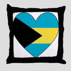 Bahamian Flag Heart Throw Pillow