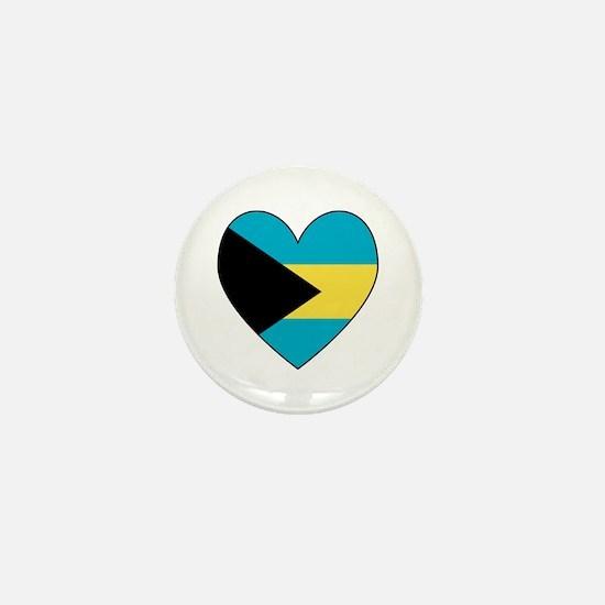 Bahamian Flag Heart Mini Button
