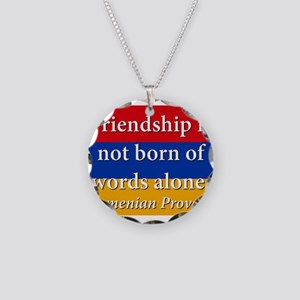 Frienship Is Not Born Necklace Circle Charm