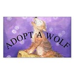 Adopt a wolf and wolf howling Sticker (Rect.)