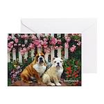Rose Fence Bulldog Greeting Cards (Pk of 10)