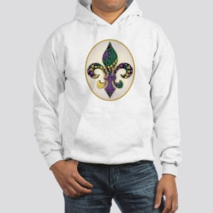 Fleur de lis Mardi Gras Beads Hooded Sweatshirt