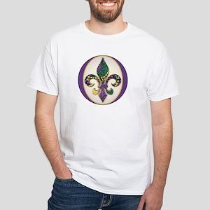 Fleur de lis Mardi Gras Beads White T-Shirt