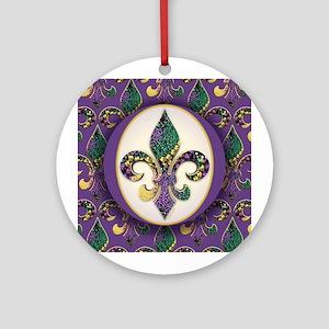 Fleur de lis Mardi Gras Beads Ornament (Round)