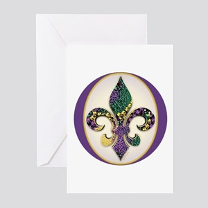 Fleur de lis Mardi Gras Beads Greeting Cards (Pack
