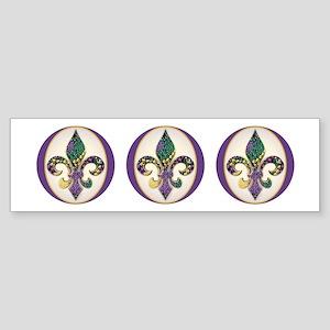 Fleur de lis Mardi Gras Beads Bumper Sticker