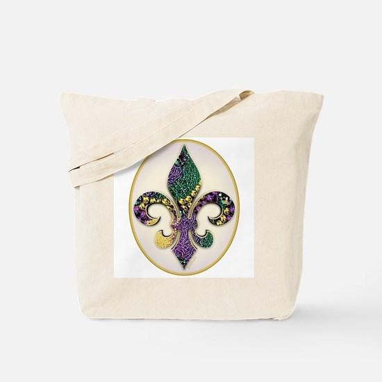 Fleur de lis Mardi Gras Beads Tote Bag
