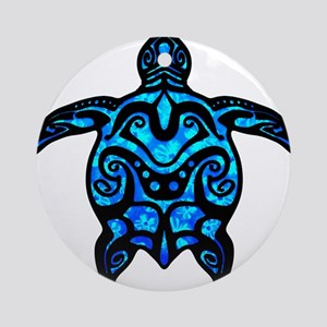 Black Tribal Turtle Ornament (Round)