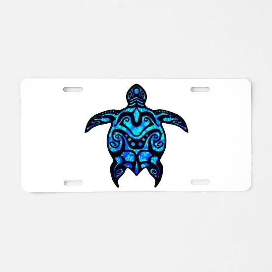 Black Tribal Turtle Aluminum License Plate